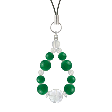 緑色 | グリーンメノウ・水晶(クォーツ) 花かずら(8mm)ストラップ