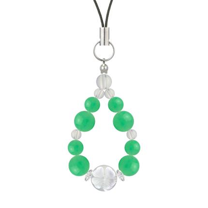 若緑色   クリソプレーズ・水晶(クォーツ) 花かずら(8mm)ストラップ