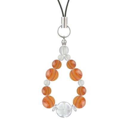 橙色 | サードオニキス・水晶(クォーツ) 花かずら(8mm)ストラップ