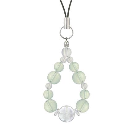 白緑色 | グリーンアメジスト・水晶(クォーツ) 花かずら(8mm)ストラップ