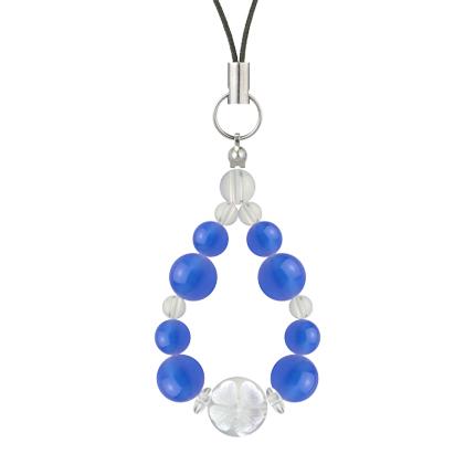 青色 | ブルーメノウ・水晶(クォーツ) 花かずら(8mm)ストラップ