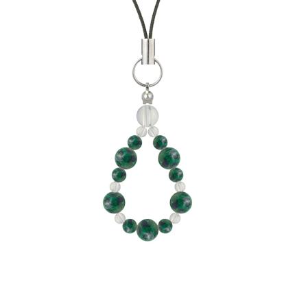緑青色 | アズロマラカイト・水晶(クォーツ) 鳳凰(6mm)ストラップ
