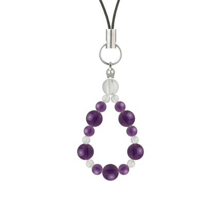 紫色 | アメジスト・水晶(クォーツ) 鳳凰(6mm)ストラップ