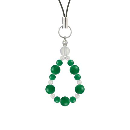 緑色 | グリーンメノウ・水晶(クォーツ) 鳳凰(6mm)ストラップ