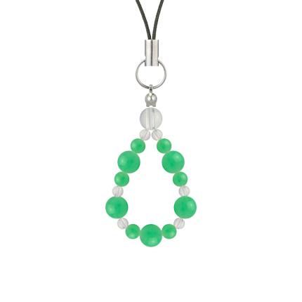 若緑色 | クリソプレーズ・水晶(クォーツ) 鳳凰(6mm)ストラップ