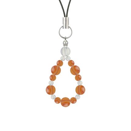 橙色 | サードオニキス・水晶(クォーツ) 鳳凰(6mm)ストラップ