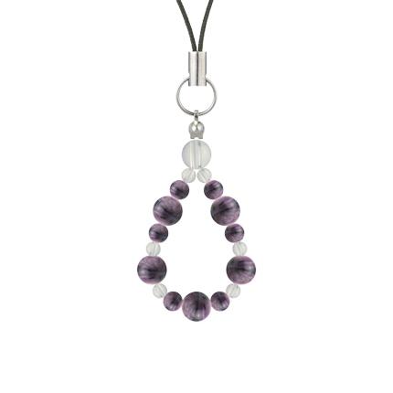 京紫色 | チャロアイト・水晶(クォーツ) 鳳凰(6mm)ストラップ