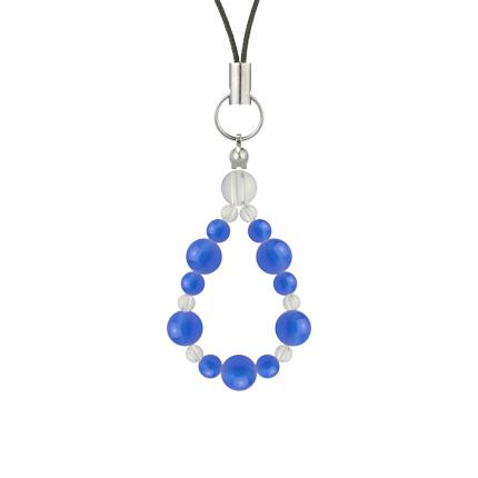 青色 | ブルーメノウ・水晶(クォーツ) 鳳凰(6mm)ストラップ