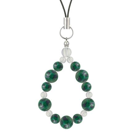 緑青色 | アズロマラカイト・水晶(クォーツ) 鳳凰(8mm)ストラップ