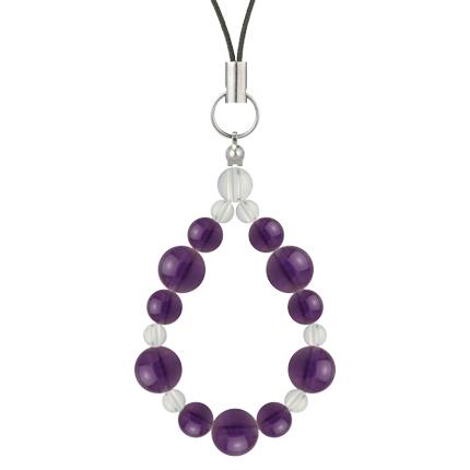 紫色 | アメジスト・水晶(クォーツ) 鳳凰(8mm)ストラップ