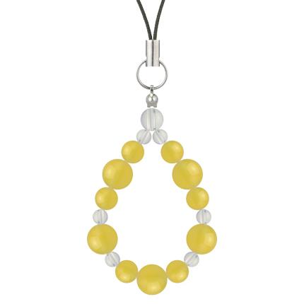 黄色 | イエローメノウ・水晶(クォーツ) 鳳凰(8mm)ストラップ