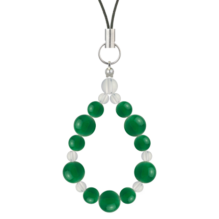 緑色   グリーンメノウ・水晶(クォーツ) 鳳凰(8mm)ストラップ