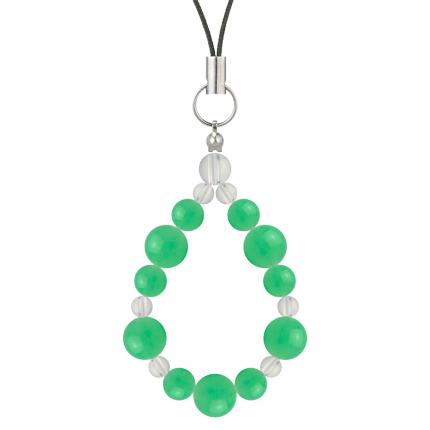 若緑色 | クリソプレーズ・水晶(クォーツ) 鳳凰(8mm)ストラップ
