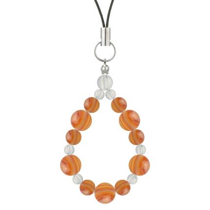 橙色 | サードオニキス・水晶(クォーツ) 鳳凰(8mm)ストラップ